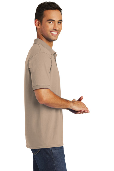 Port & Company KP55 Mens Core Stain Resistant Short Sleeve Polo Shirt Sand Brown Side