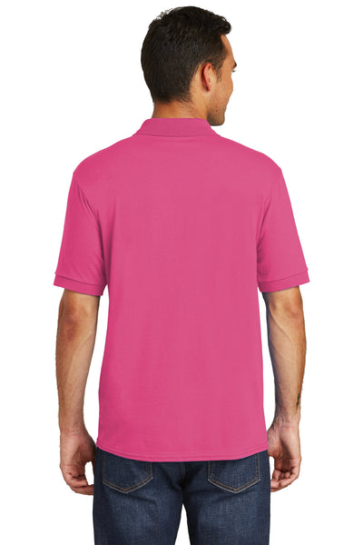 Port & Company KP55 Mens Core Stain Resistant Short Sleeve Polo Shirt Sangria Pink Back