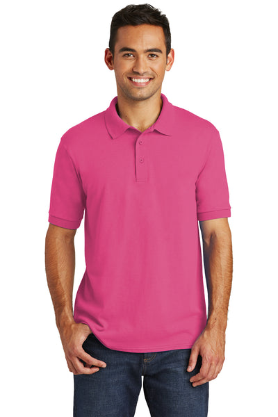 Port & Company KP55 Mens Core Stain Resistant Short Sleeve Polo Shirt Sangria Pink Front