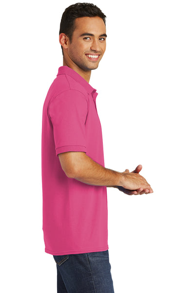 Port & Company KP55 Mens Core Stain Resistant Short Sleeve Polo Shirt Sangria Pink Side