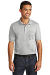 Port & Company KP55P Mens Core Stain Resistant Short Sleeve Polo Shirt w/ Pocket Ash Grey Front