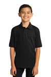 Port & Company KP55Y Youth Core Stain Resistant Short Sleeve Polo Shirt Black Front