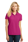 Port Authority L100 Womens Core Classic Short Sleeve Polo Shirt Azalea Pink Front