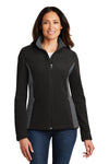 Port Authority L216 Womens Full Zip Fleece Jacket Black/Grey Front