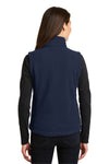 Port Authority L219 Womens Full Zip Fleece Vest Navy Blue Back