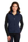 Port Authority L219 Womens Full Zip Fleece Vest Navy Blue Front