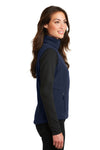 Port Authority L219 Womens Full Zip Fleece Vest Navy Blue Side