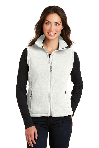 Port Authority L219 Womens Full Zip Fleece Vest White Front