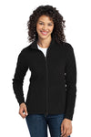 Port Authority L223 Womens Full Zip Microfleece Jacket Black Front