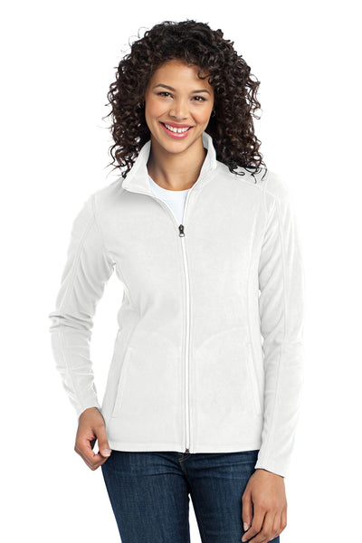 Port Authority L223 Womens Full Zip Microfleece Jacket White Front