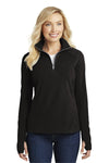 Port Authority L224 Womens Microfleece 1/4 Zip Sweatshirt Black Front