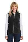 Port Authority L226 Womens Full Zip Microfleece Vest Black Front