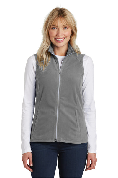 Port Authority L226 Womens Full Zip Microfleece Vest Grey Front