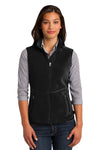 Port Authority L228 Womens R-Tek Pro Full Zip Fleece Vest Black Front