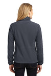Port Authority L229 Womens Full Zip Fleece Jacket Battleship Grey/Black Back