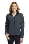 Port Authority L229 Womens Full Zip Fleece Jacket Battleship Grey/Black Front