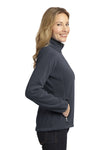Port Authority L229 Womens Full Zip Fleece Jacket Battleship Grey/Black Side