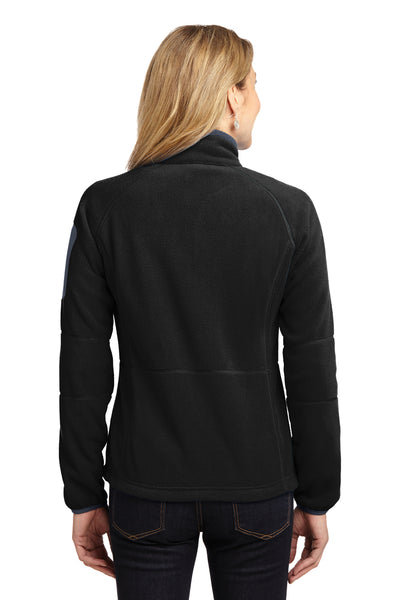 Port Authority L229 Womens Full Zip Fleece Jacket Black/Grey Back