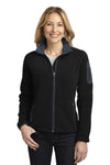 Port Authority L229 Womens Full Zip Fleece Jacket Black/Grey Front