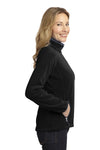 Port Authority L229 Womens Full Zip Fleece Jacket Black/Grey Side