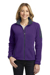 Port Authority L229 Womens Full Zip Fleece Jacket Purple/Grey Front