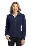 Port Authority L229 Womens Full Zip Fleece Jacket Navy Blue/Grey Front
