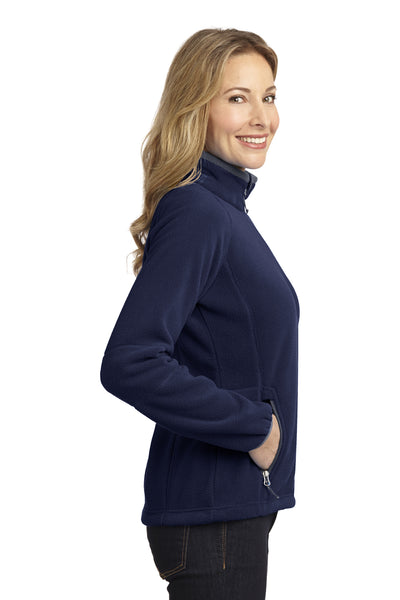 Port Authority L229 Womens Full Zip Fleece Jacket Navy Blue/Grey Side