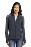 Port Authority L230 Womens Full Zip Microfleece Jacket Battleship Grey/Grey Front