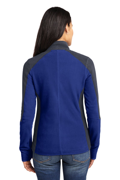 Port Authority L230 Womens Full Zip Microfleece Jacket Royal Blue/Grey Back