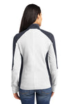 Port Authority L230 Womens Full Zip Microfleece Jacket White/Grey Back