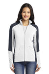 Port Authority L230 Womens Full Zip Microfleece Jacket White/Grey Front