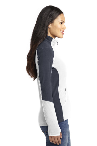 Port Authority L230 Womens Full Zip Microfleece Jacket White/Grey Side