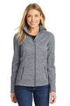 Port Authority L231 Womens Full Zip Fleece Jacket Grey Front