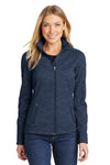 Port Authority L231 Womens Full Zip Fleece Jacket Navy Blue Front