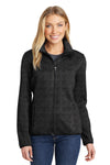 Port Authority L232 Womens Full Zip Sweater Fleece Jacket Heather Black Front