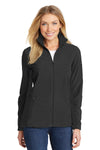 Port Authority L233 Womens Summit Full Zip Fleece Jacket Black Front