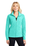 Port Authority L235 Womens Heather Microfleece Full Zip Sweatshirt Aqua Green Front