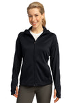 Sport-Tek L248 Womens Tech Moisture Wicking Fleece Full Zip Hooded Sweatshirt Hoodie Black Front