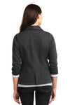 Port Authority L298 Womens Button Down Fleece Blazer Charcoal Grey Back