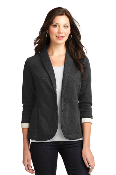 Port Authority L298 Womens Button Down Fleece Blazer Charcoal Grey Front