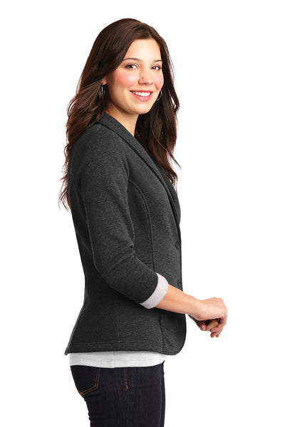Port Authority L298 Womens Button Down Fleece Blazer Charcoal Grey Side