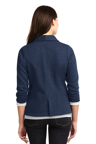 Port Authority L298 Womens Button Down Fleece Blazer Navy Blue Back