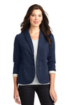 Port Authority L298 Womens Button Down Fleece Blazer Navy Blue Front
