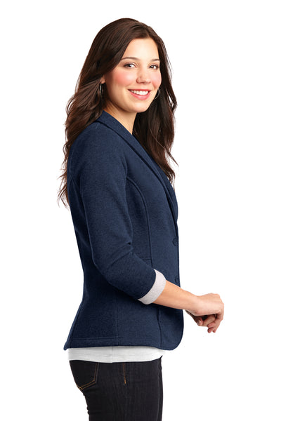 Port Authority L298 Womens Button Down Fleece Blazer Navy Blue Side