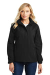 Port Authority L304 Womens All Season II Waterproof Full Zip Hooded Jacket Black Front
