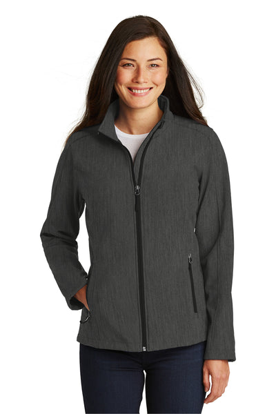 Port Authority L317 Womens Core Wind & Water Resistant Full Zip Jacket Heather Charcoal Grey Front
