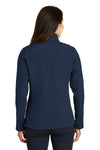 Port Authority L317 Womens Core Wind & Water Resistant Full Zip Jacket Navy Blue Back