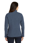 Port Authority L317 Womens Core Wind & Water Resistant Full Zip Jacket Heather Navy Blue Back