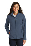 Port Authority L317 Womens Core Wind & Water Resistant Full Zip Jacket Heather Navy Blue Front