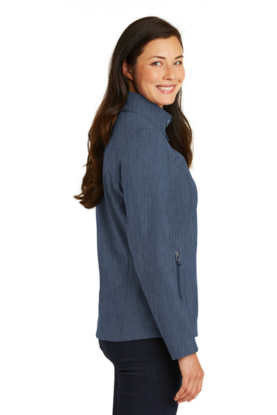 Port Authority L317 Womens Core Wind & Water Resistant Full Zip Jacket Heather Navy Blue Side